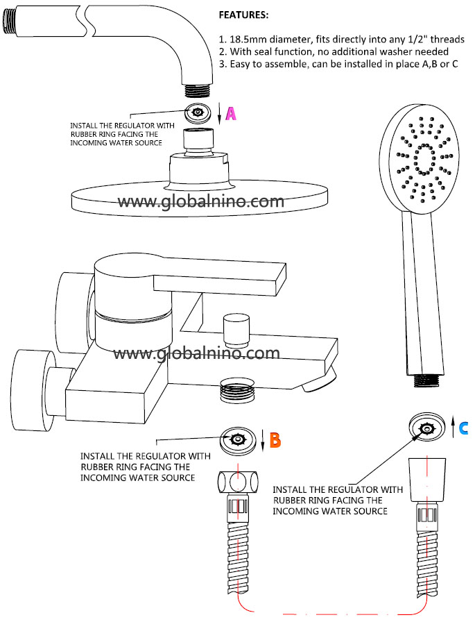 H3A Shower flow washer regulator install instruction